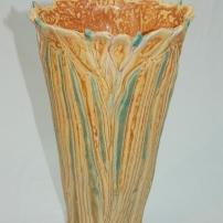 carved iris vase, tall